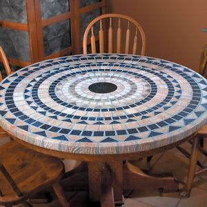 new elasticized mosaic table cover 48 vesuvius stone look patio outdoor kitchen - Kitchen Table Covers Vinyl