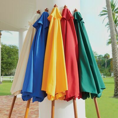 9' Outdoor Patio Wood Umbrella Wooden Pole Market Beach Garden Sun -