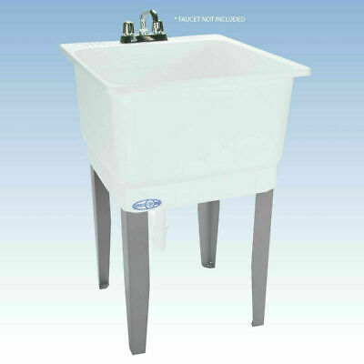 Freestanding Utility Sink Laundry Tub Floor Mount Single Faucet Wash Bowl Basin Laundry Tub Faucet