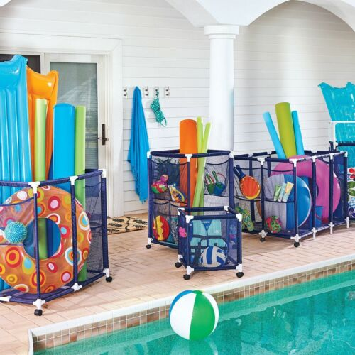Rolling Pool Toy Storage Cart Mesh Bins with Side Pockets Swimming Pool Storage