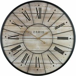 "24"" French Country Rustic Large Decorative Modern Farmhouse Wood Metal Clock"