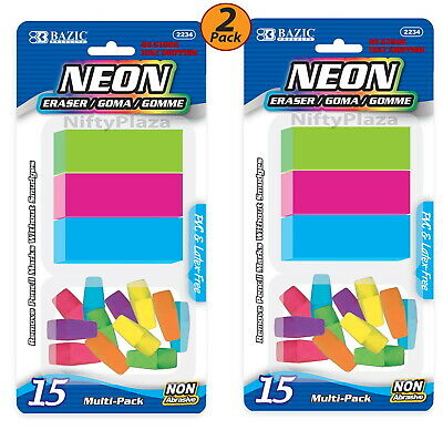 2 Pack - Neon Wedge Eraser Set Colored Soft And Non Abrasive 15pack - Us Ship