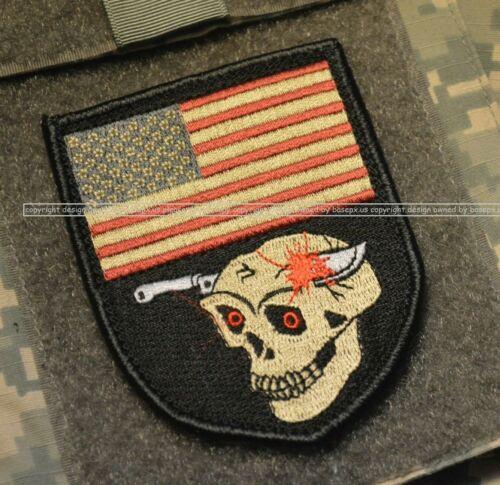 Camp Leatherneck Helmand Afghanistan USMC SLEEVE burdock PATCH: US Flag Skull