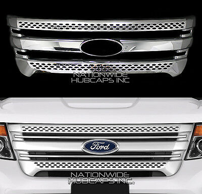 11-15 Ford Explorer CHROME Snap On Grille Overlay Full Front Grill Covers Insert Chrome Plated Insert