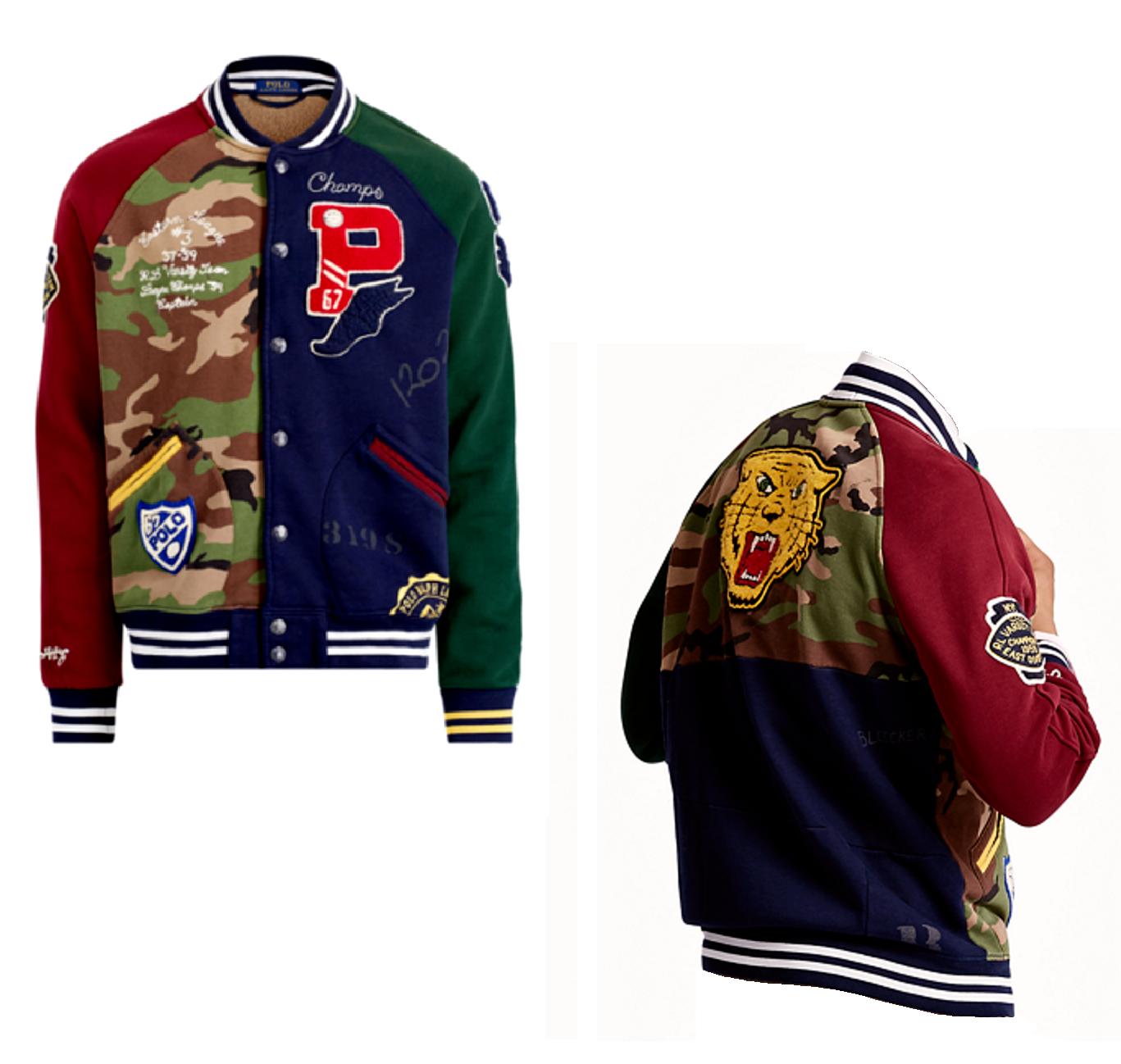 d18327cf26ff Polo Ralph Lauren Camo Varsity Letterman Patchwork Stadium Tiger Patch  Jacket XL фото