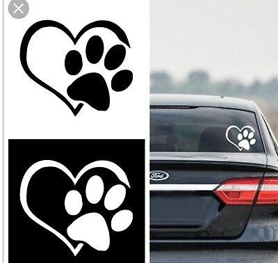 Puppy Paw Print (PAW PRINT HEART Die cut Vinyl Decal - Car Window Sticker PUPPY I LOVE MY)