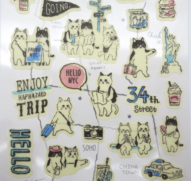 Japanese New York City cat stickers! Kawaii travel, tourist,