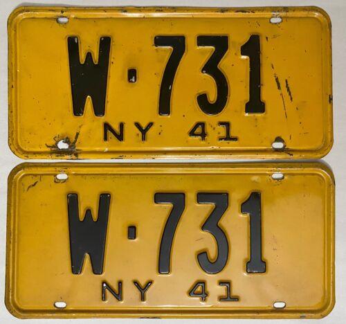 1941 NEW YORK License Plate PAIR - #W-731