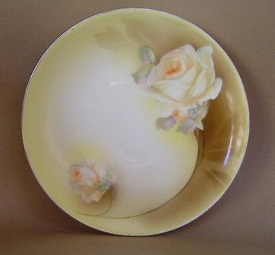 "Vintage R.S. PRUSSIA GERMANY Handpainted Porcelain 8"" FLORAL ROSE PLATE Gold Rim"