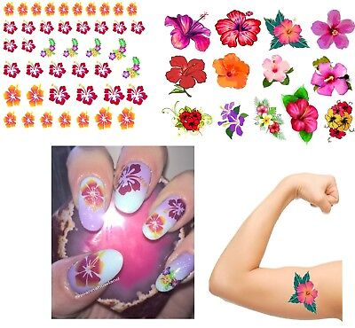 Hibiscus Flower  Collection Nail Art - Temporary Tattoos  -  (Hibiscus Flower Tattoos)