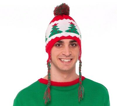 Funny CHRISTMAS TREES WINTER KNIT HAT Adult Christmas Cap Ugly Sweater Accessory - Funny Christmas Hats Adults