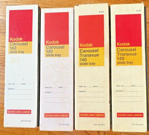 Lot of 4 Vintage Kodak Carousel Transvue 140 Slide Trays in Box
