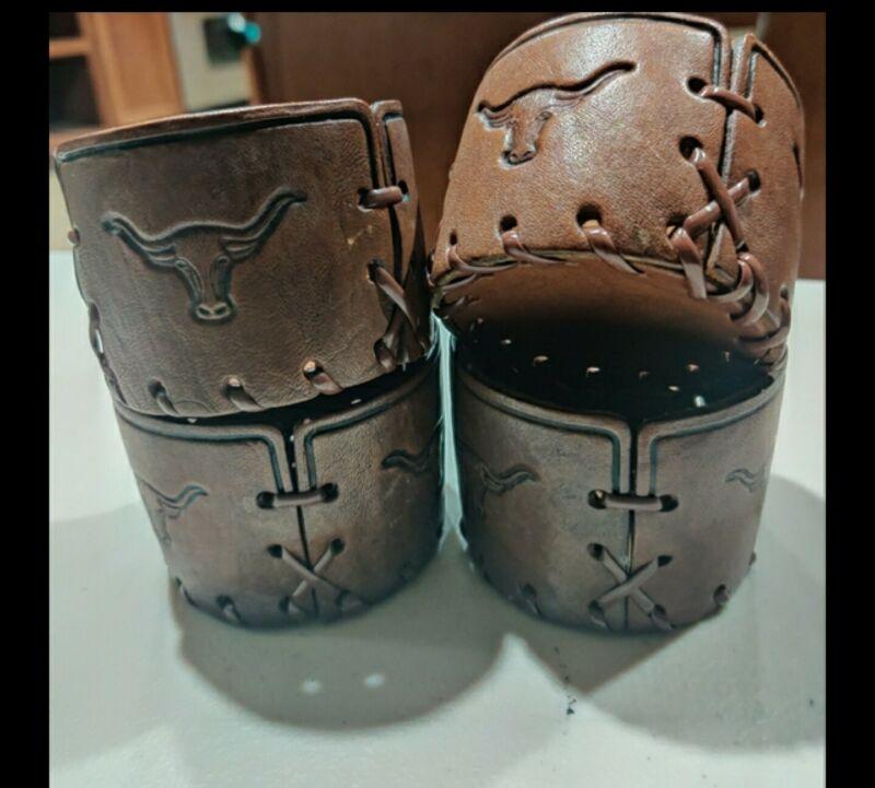 4 Vintage Style Longhorn Steer Bull Western Leather Cup Holder Coaster Cowboy