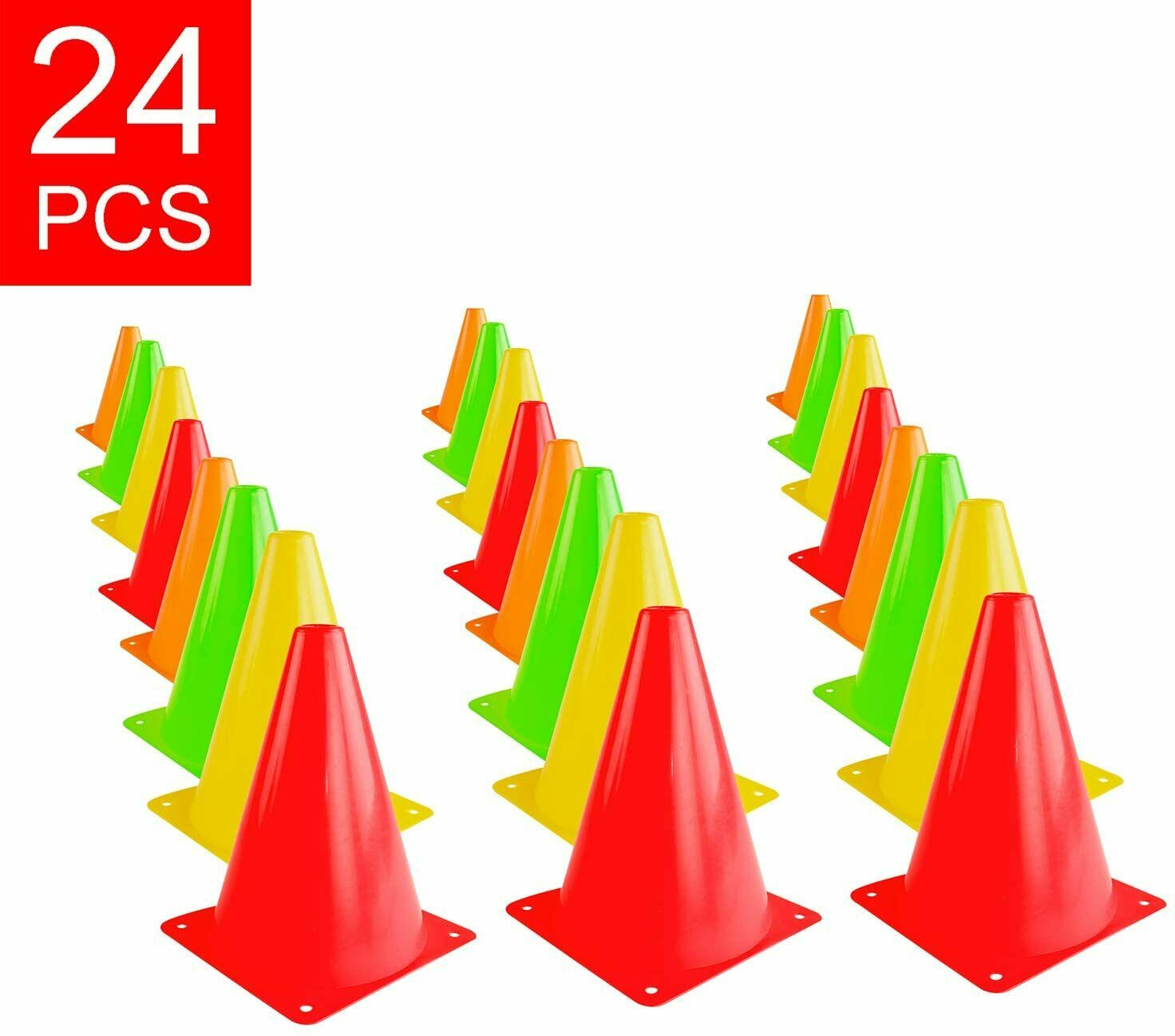 bright neon color cones sports equipment fitness