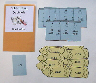 Teacher Made Math Center Resource Game Subtracting Decimals Hundredths