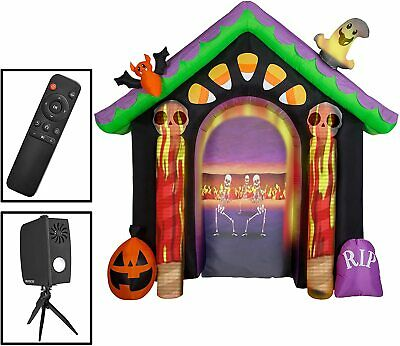 USED Gemmy 8.6 Feet Inflatable Halloween Archway Living Projection Haunted House