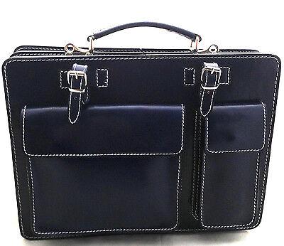 Man's handbag briefcase laptop workbag genuine italian leather blue 7005 US