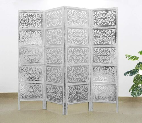 Cotton Craft, Rajasthan Antique Silver 4 Panel Handcrafted Wood Room Divider