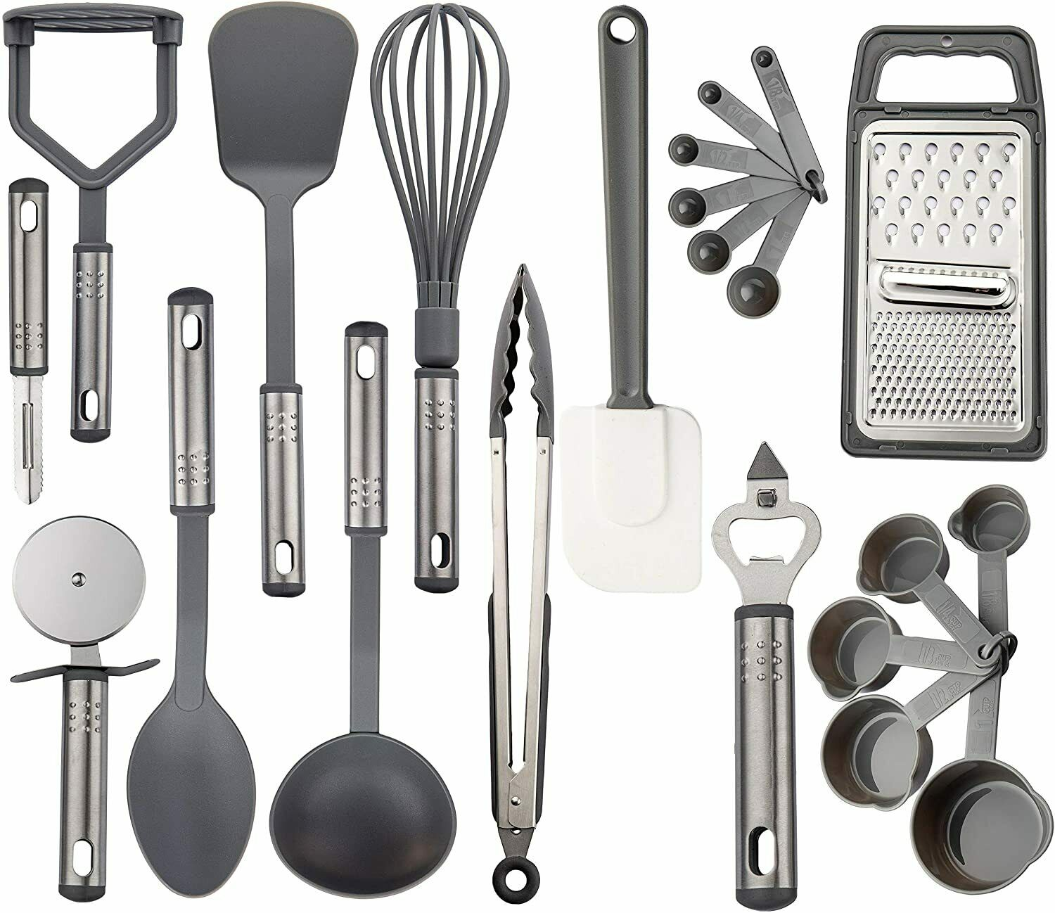 23 Piece Cooking Utensil Set Stainless Steel Nylon Kitchen Gadgets Utensils