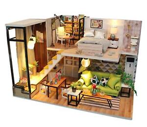 Dollhouse miniature kits ebay dollhouse miniature diy kit with cover wood toy doll house cottage wled lights solutioingenieria Choice Image