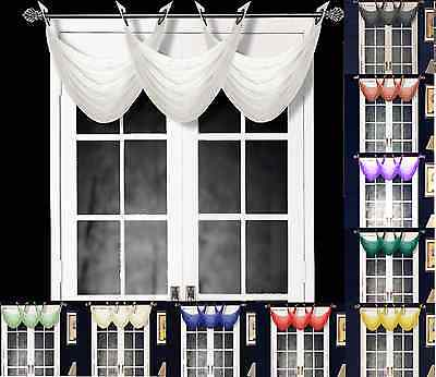 Elegant Swag Valance - 1PC K36 ELEGANT ANTIQUE GROMMET VOILE WINDOW SOLID SHEER WATERFALL SWAG VALANCE