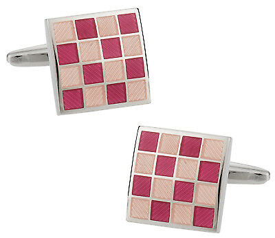 Pink Enamel Cufflinks - Pink Checkerboard Enamel Cufflinks Direct from Cuff-Daddy
