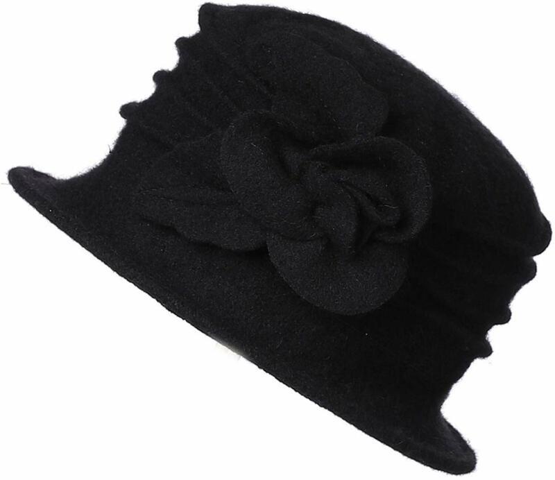 Dantiya Women's Elegant Flower 100% Wool Trimmed Wool Cloc