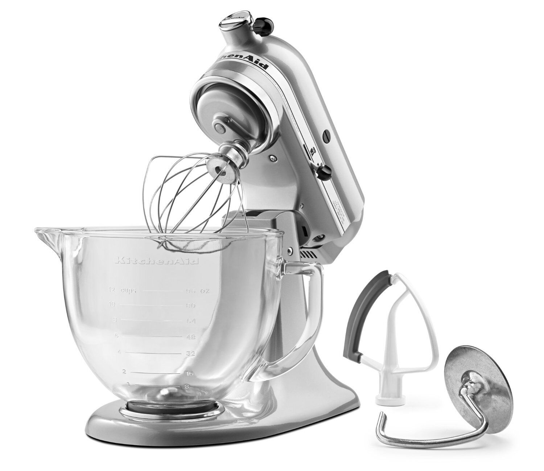 KitchenAid KSM105GBC 5-Qt Tilt Head Stand Mixer Glass Bowl/Flex Edge ...