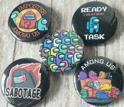 Among Us - Set of 5 Button Magnets - Flat Rate Shipping in the US - See Images