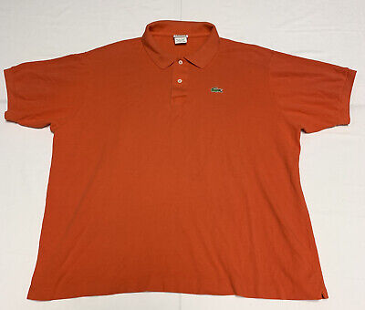 Lacoste Mens Polyester Polo Size 8 Orange Short Sleeve Alligator Logo