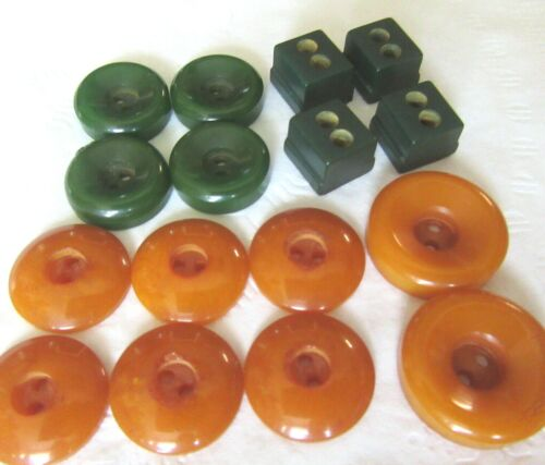 VTG Bakelite Casein BUTTON  Butterscotch Green cubes 2 hole whistle SETS LOT