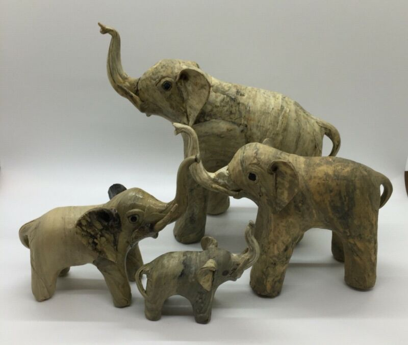🐘 Vintage Rare Oyster Shell Elephant Family Set of 4 Figurines from Philippines