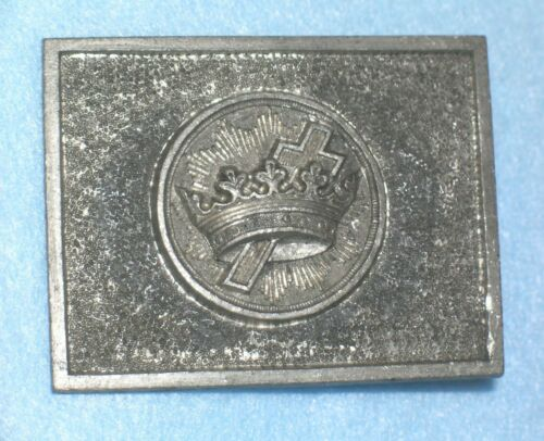 Antique AMES FOUNDRY PATTERN 19thC KNIGHTS TEMPLAR CROWN SWORD BELT PLATE Buckle