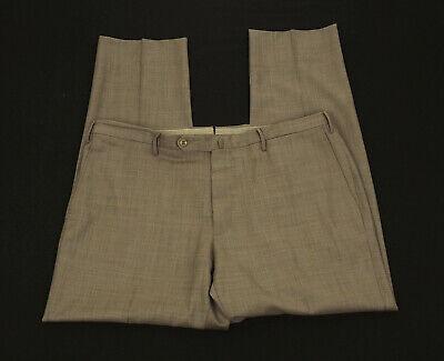 Incotex Classic Fit Brown Wool Flat Lined Dress Pants Mens 40 x 30