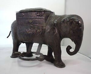 Antique-Vintage-Black-Cast-Iron-Elephant-Cigarette-Holder-Dispenser