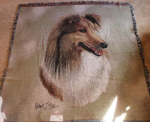 Shetland Sheepdog Robert May Lap Blanket Pure Country Weavers 52x52 100% Cotton