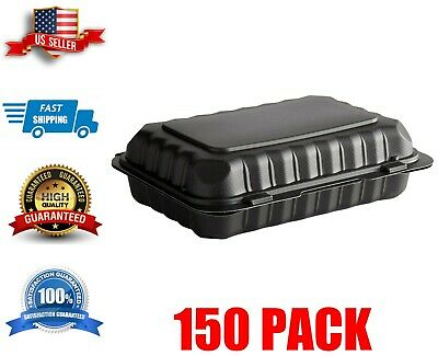 150 Case 9 X 6 Take-out Container 1-compartment Black Plastic Hinged