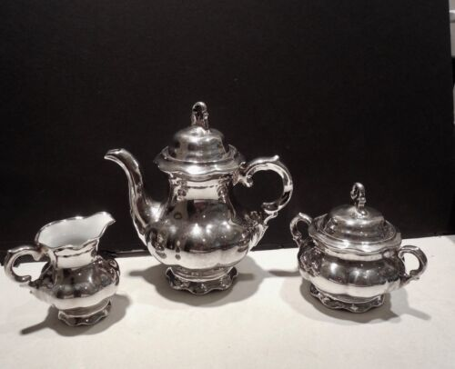 SILVER  PLATED  PORCELAIN DEMITASSE SET 3 PIECE   MADE IN GERMANY   VINTAGE
