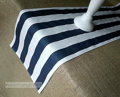 Navy Blue Table Runner Nautical  Stripe Home Decor Linens Table Centerpiece (Navy Table Runner)