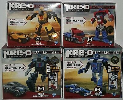 Transformers Kre-O set of 4 Optimus Prime Bumblebee Jazz Mirage new 31144 31143