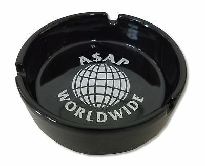 ASAP Worldwide White Logo Ceramic Black Ashtray New Official Rap Hip Hop Label