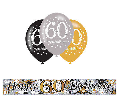60TH BIRTHDAY GOLD / BLACK / SILVER PARTY PACK WITH BANNER & 12 HELIUM BALLOONS