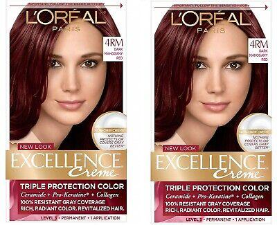 2 Pack L'Oréal Paris Excellence Créme Permanent Hair Color,4RM Dark Mahogany Red
