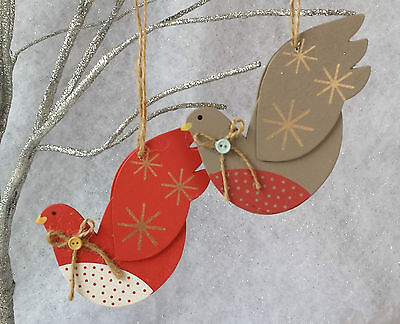 2 x Gisela Graham Peace Doves Christmas decoration Red Grey Painted Wood Vintage](Gisela Graham Halloween Decorations)