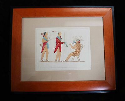 "1857 Framed Tinted Lithograph ""Atotarho"" from a drawing by Seth Eastman 17 1/2""w"