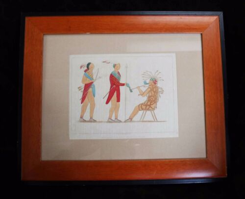 """1857 Framed Tinted Lithograph """"Atotarho"""" from a drawing by Seth Eastman 17 1/2""""w"""