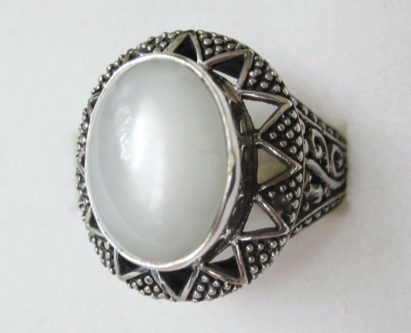 White Moonstone Ring in Sterling Silver sz 6 --- 5.62cts, 7.1grams