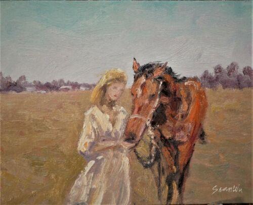 "Sean Wu, Original 8x10"" oil on canvas board, horses"