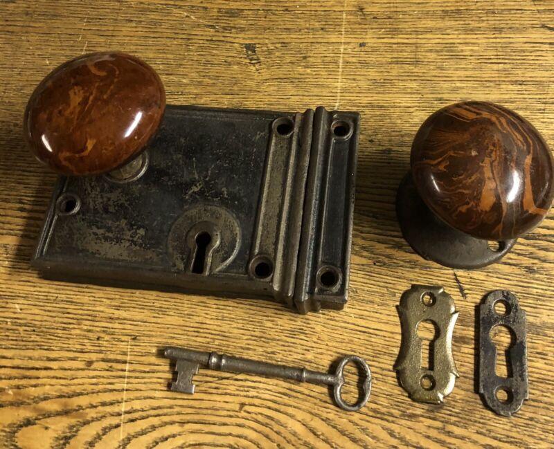 Antique Door Rim or Box Lock & Brown Swirl Mineral Doorknobs Set c1885
