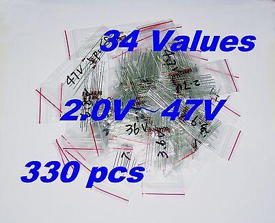 330 Pcs 34 Values 2v47v 0.5w 12w St Zener Diode Assortment Kit New